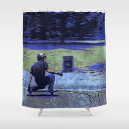 Just Cruisin'  - Skateboarder Shower Curtain
