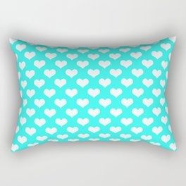Aqua & White Hearts Rectangular Pillow