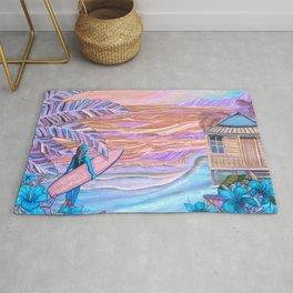 Hawaiian Coral And Teal Surfer Fine Art Rug