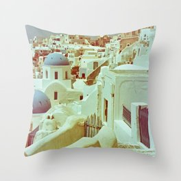 Santorini in Raspberry and Blue II: shot using Revolog 600nm special effects film Throw Pillow