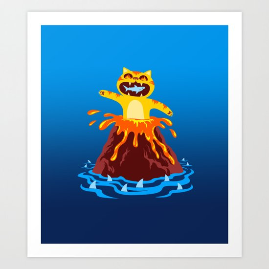 Volcano Cat Art Print