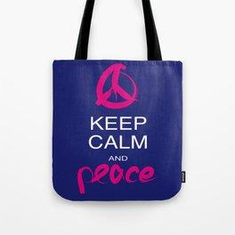 Keep calm and Peace Tote Bag