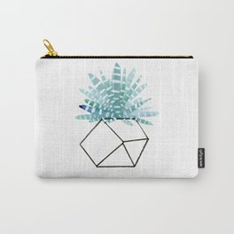 Cacti in Geometric Pot - Green Cactus and Graphic, Black Vase Carry-All Pouch