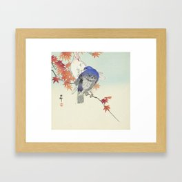 Two pigeons on autumn branch by Ohara Koson, 1900 Framed Art Print