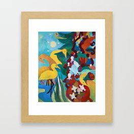 The yellow herons Framed Art Print