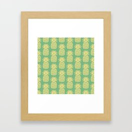 Mid Century Modern Pineapple Pattern Yellow and Green Framed Art Print