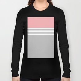 Pink White Stripes Grey Long Sleeve T-shirt