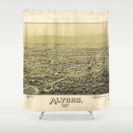 Aerial View of Alvord, Texas (1890) Shower Curtain