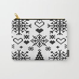 Christmas Cross Stitch Embroidery Sampler Black And White Carry-All Pouch