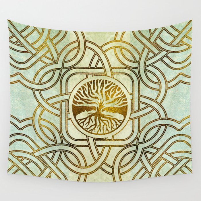 Golden Tree of life -Yggdrasil on vintage paper Wall Tapestry by ...