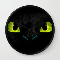 toothless Wall Clocks featuring Toothless by KitsuneDesigns