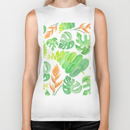 Tropical Leaves I Biker Tank