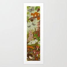 Woodland critters (coloured) Art Print