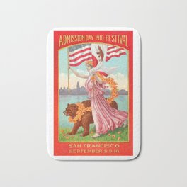 Lady holding USA flag & California flag alongside a bear at the Admission Day Festival of 1910 Bath Mat