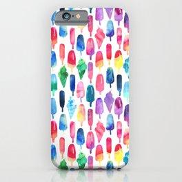 Rainbow Watercolor Popsicles Ice Cream Cones iPhone Case