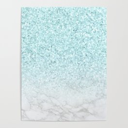 Turquoise Glitter and Marble Poster