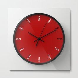 clock tick tock ~ black red Metal Print