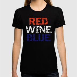 Patriotic Red Wine and Blue T-shirt