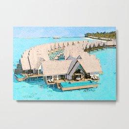 Maldives Digital Watercolor Metal Print