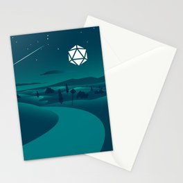 Countryside Road Night Shooting Star D20 Dice Moon Tabletop RPG Landscape Stationery Cards