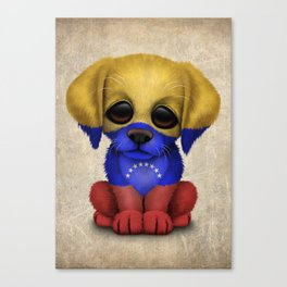 Cute Puppy Dog with flag of Venezuela Canvas Print