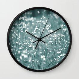 Tiny White Flowers Against Grey-Green Background #decor #society6 #buyart Wall Clock