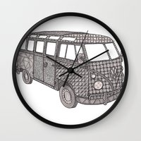 volkswagon Wall Clocks featuring Tangled VW Bus - side view by Cherry Creative Designs