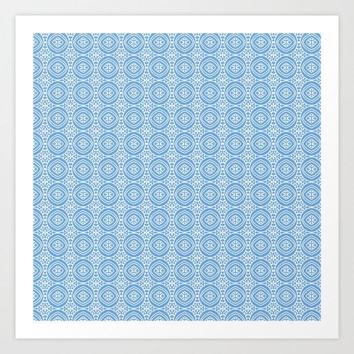 Blue and White, Version #3. Geometric circles. Art Print