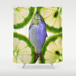 Lime Fish Shower Curtain