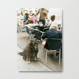 A dog waits at a cafe in Barcelona Metal Print