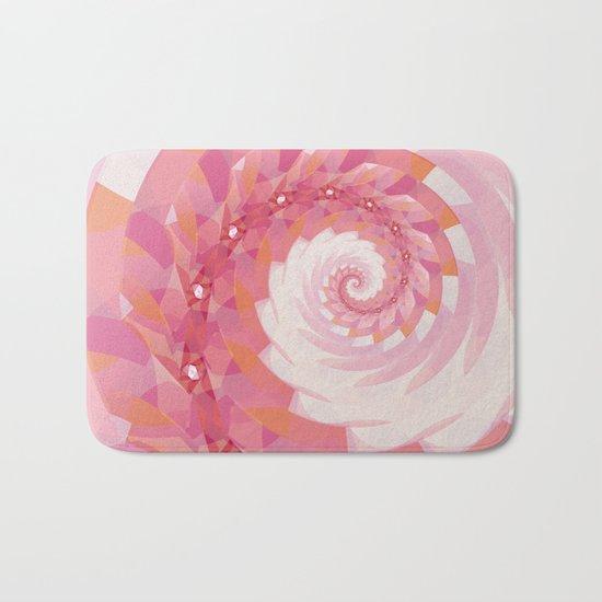 Strawberry Pink & Tangerine Orange Spiral Bath Mat