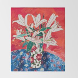 Blush Lily Bouquet on Orange Throw Blanket