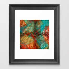 Red and Turquoise Weave Framed Art Print