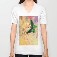 batik V-neck T-shirts featuring BATIK GREEN by AlyZen Moonshadow