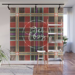 Get Cozy Quote Fall Plaid Wall Mural