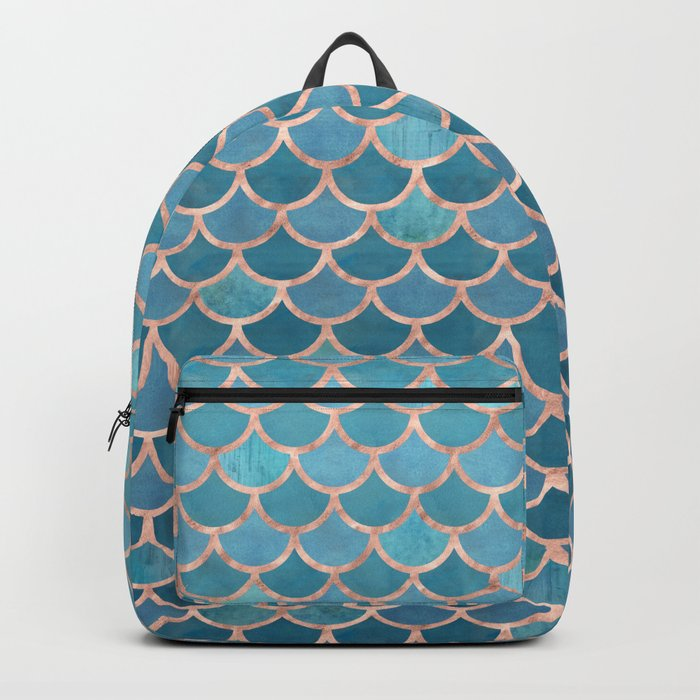 Mermaid Scales in Teal and Rose Gold Backpack