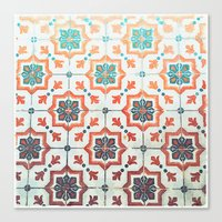 orange pattern Canvas Prints featuring Orange pattern by Travel Cards