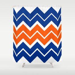 Big Chevron:  Blue + Orange Shower Curtain