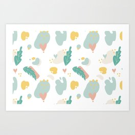 Pastel Collage Leaves Hearts and Shapes Art Print