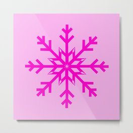 Girly Hot Pink Snowflake Metal Print