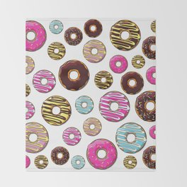 Donut Pattern, Colorful Donuts - Pink Blue Yellow Throw Blanket