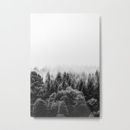 Winter forest trees #2 - Black and white Metal Print