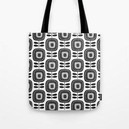 Mid Century Modern Flower Pattern - Black & White Tote Bag