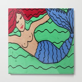 Abstract Digital Painting of a Red Haired Mermaid Metal Print