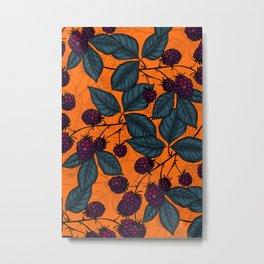 Blackberry hand- drawn pattern Metal Print