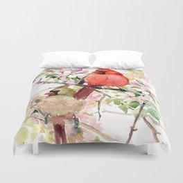 Cardinal Birds and Spring, cardinal bird design Duvet Cover