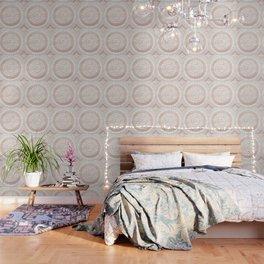 Mandala - rose gold and white marble Wallpaper