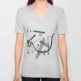 Kandindky - Black and White Abstract Art Unisex V-Neck