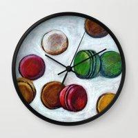 macarons Wall Clocks featuring Macarons by Nath Chipilova