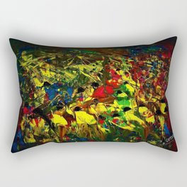 Indigenous Inca People of the Peruvian highlands of Machu Picchu landscape painting by Ortega Maila Rectangular Pillow